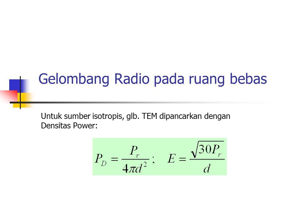 Gelombang Radio pada ruang bebas Untuk sumber isotropis, glb. TEM dipancarkan dengan Densitas Power: