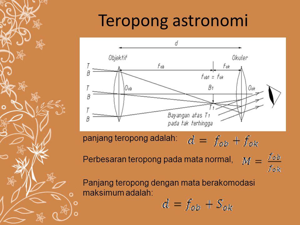 Teropong astronomi panjang teropong adalah: Perbesaran teropong pada mata normal, Panjang teropong dengan mata berakomodasi maksimum adalah: