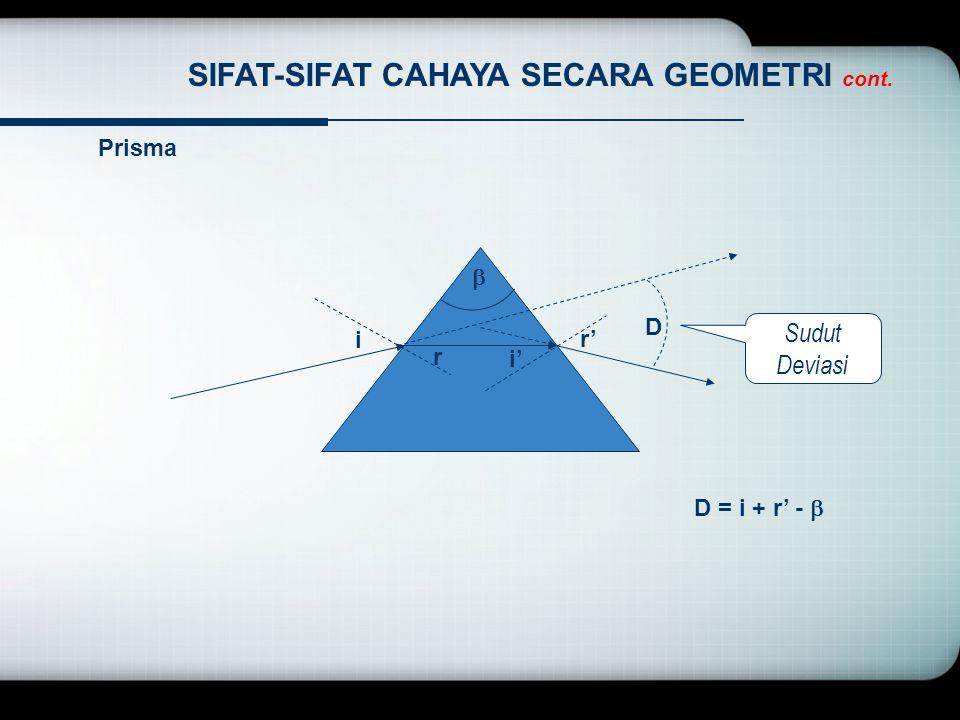 SIFAT-SIFAT CAHAYA SECARA GEOMETRI cont. Prisma Sudut Deviasi i r i' r' D  D = i + r' - 