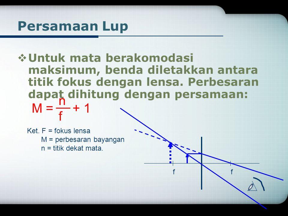 Persamaan Lup  Untuk mata berakomodasi maksimum, benda diletakkan antara titik fokus dengan lensa.