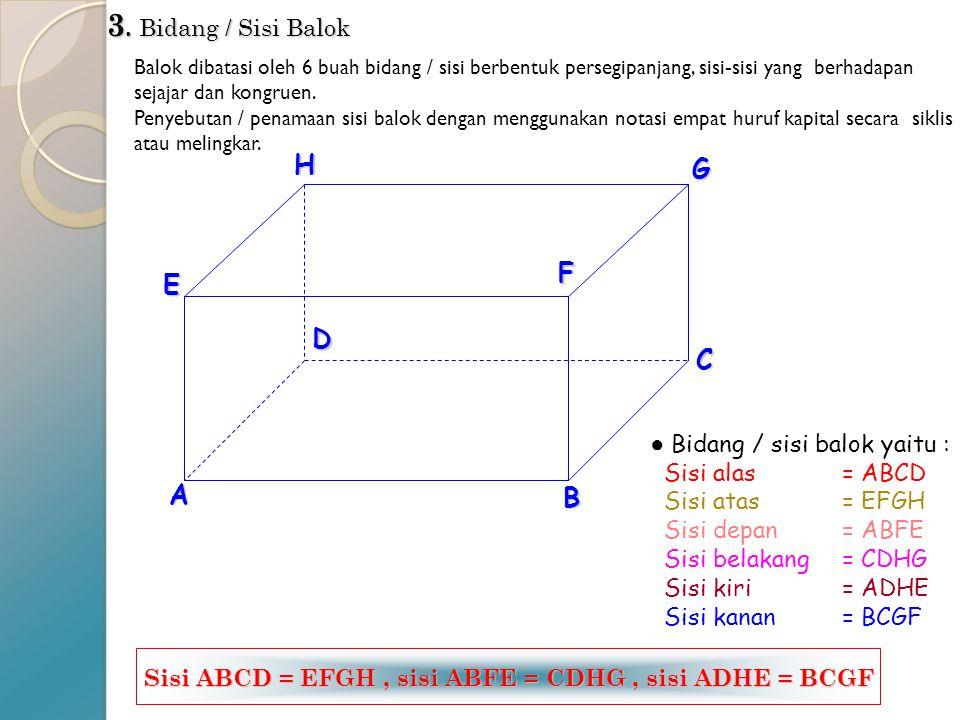 2. Rusuk Rusuk balok merupakan garis potong antara sisi-sisi balok. Penulisan / penamannya rusuk menggunakan notasi dua huruf kapital. Pada balok ABCD