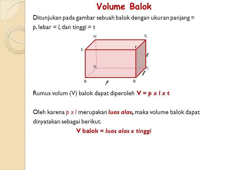 Sebuah balok berukuran panjang 18 cm, lebar 12 cm, dan tinggi 8 cm. Hitung luas permukaan balok tersebut! Jawab = panjang = 18 cmlebar = 12 cmtinggi =