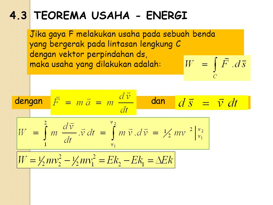 4.3TEOREMA USAHA - ENERGI Jika gaya F melakukan usaha pada sebuah benda yang bergerak pada lintasan lengkung C dengan vektor perpindahan ds, maka usah