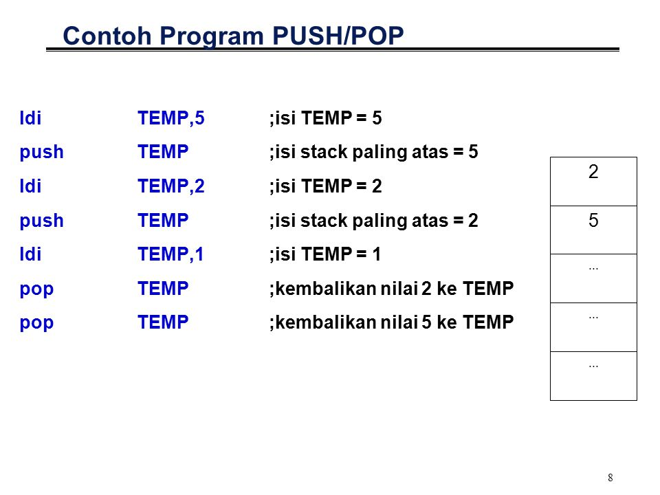 8 Contoh Program PUSH/POP ldiTEMP,5;isi TEMP = 5 pushTEMP;isi stack paling atas = 5 ldiTEMP,2;isi TEMP = 2 pushTEMP;isi stack paling atas = 2 ldiTEMP,1;isi TEMP = 1 popTEMP;kembalikan nilai 2 ke TEMP popTEMP;kembalikan nilai 5 ke TEMP 5 2...