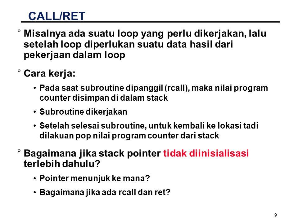 10 Contoh Program Call/Ret jobs: ldiTEMP,5;angka 5 untuk disimpan ldiCOUNTER,5;jumlah lokasi ldiHASIL,0xA0;lokasi awal rcallloop;melakukan pekerjaan ldiXL,0xB0 stX,HASIL;menyimpan lokasi terakhir rjmpfinish;kemudian selesai loop:;memasukkan angka 5 ke movZL,HASIL;lokasi 0xA0 s.d.
