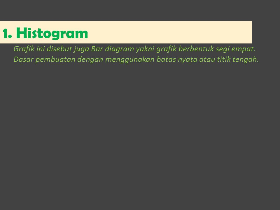 1. Histogram Grafik ini disebut juga Bar diagram yakni grafik berbentuk segi empat. Dasar pembuatan dengan menggunakan batas nyata atau titik tengah.