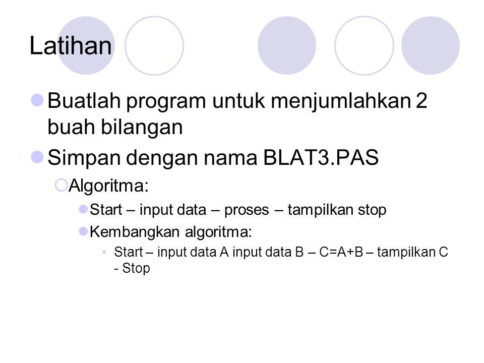 Latihan Buatlah program untuk menjumlahkan 2 buah bilangan Simpan dengan nama BLAT3.PAS  Algoritma: Start – input data – proses – tampilkan stop Kembangkan algoritma: Start – input data A input data B – C=A+B – tampilkan C - Stop