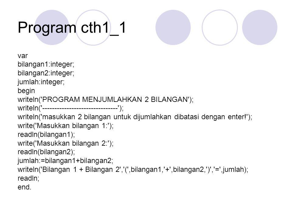 Program cth1_1 var bilangan1:integer; bilangan2:integer; jumlah:integer; begin writeln('PROGRAM MENJUMLAHKAN 2 BILANGAN'); writeln('------------------