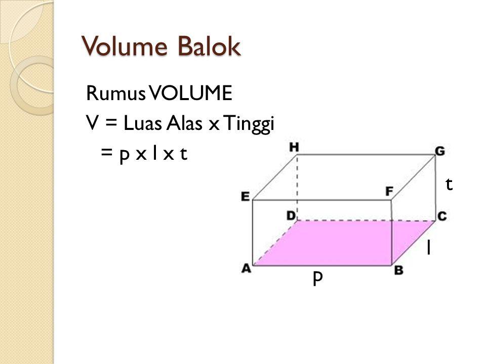 Volume Balok Rumus VOLUME V = Luas Alas x Tinggi = p x l x t p l t
