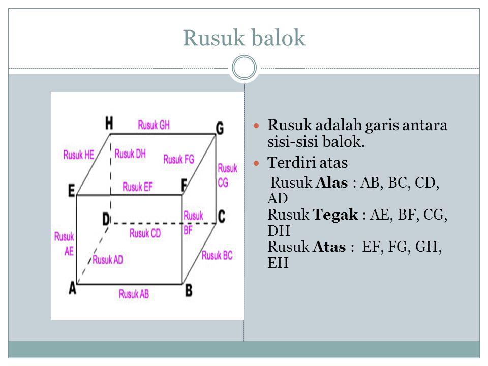 JUMLAH PANJANG RUSUK BALOK = (4 x p) + (4 x l) + (4 x t) = 4 x (p+l+t) Contoh: Sebuah balok dengan panjang 6 cm, lebar 7 cm dan tinggi 8 cm.