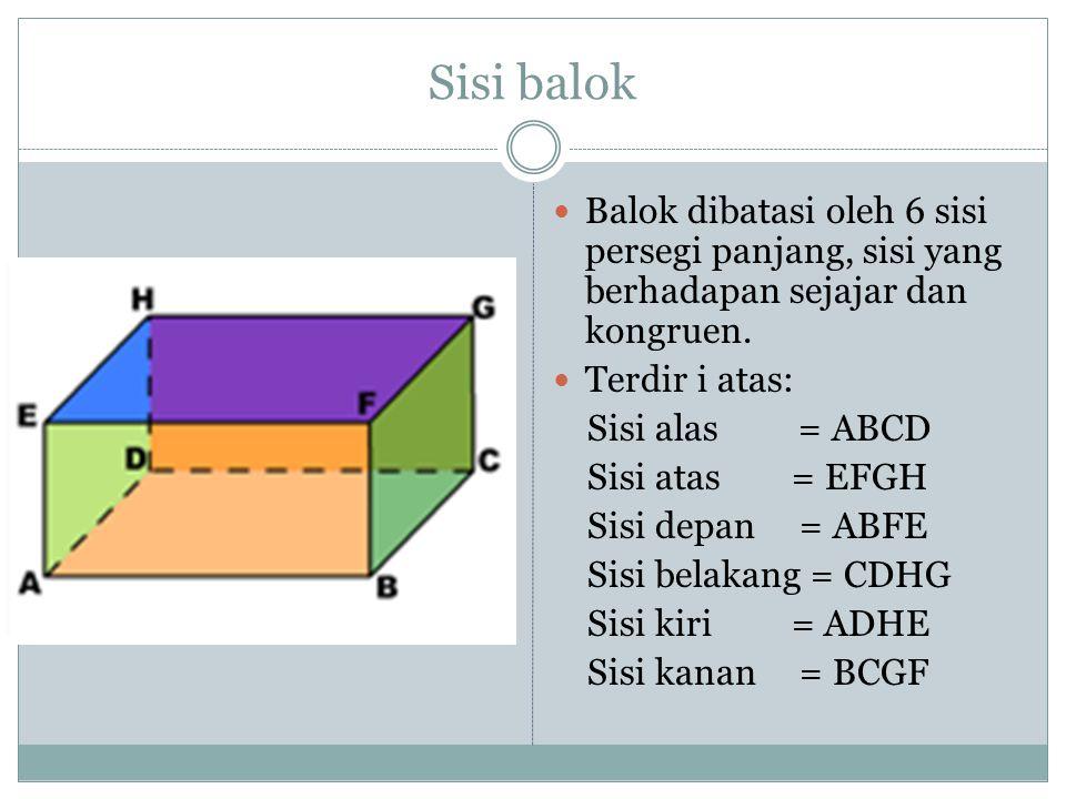 Sisi balok Balok dibatasi oleh 6 sisi persegi panjang, sisi yang berhadapan sejajar dan kongruen. Terdir i atas: Sisi alas = ABCD Sisi atas = EFGH Sis