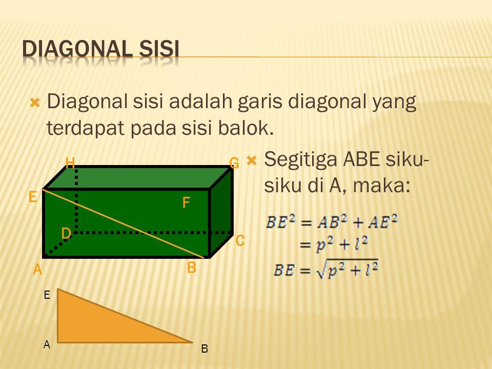  Diagonal sisi adalah garis diagonal yang terdapat pada sisi balok.  Segitiga ABE siku- siku di A, maka: A H E F D C B G E A B