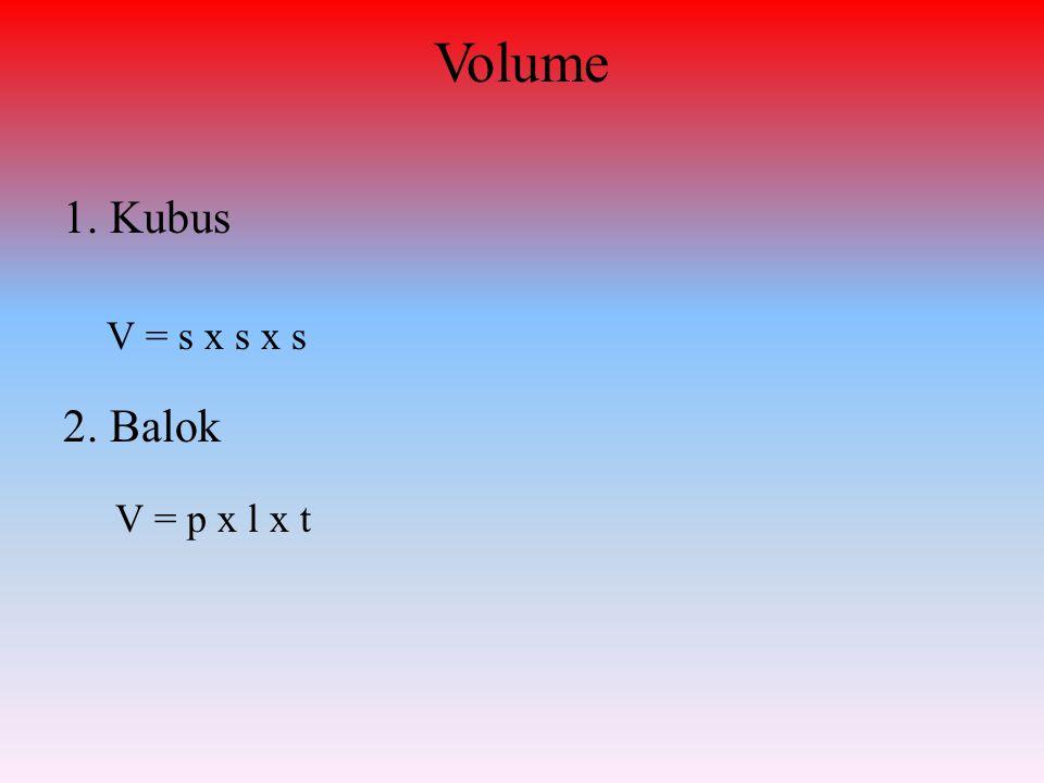 Volume 1. Kubus V = s x s x s 2. Balok V = p x l x t