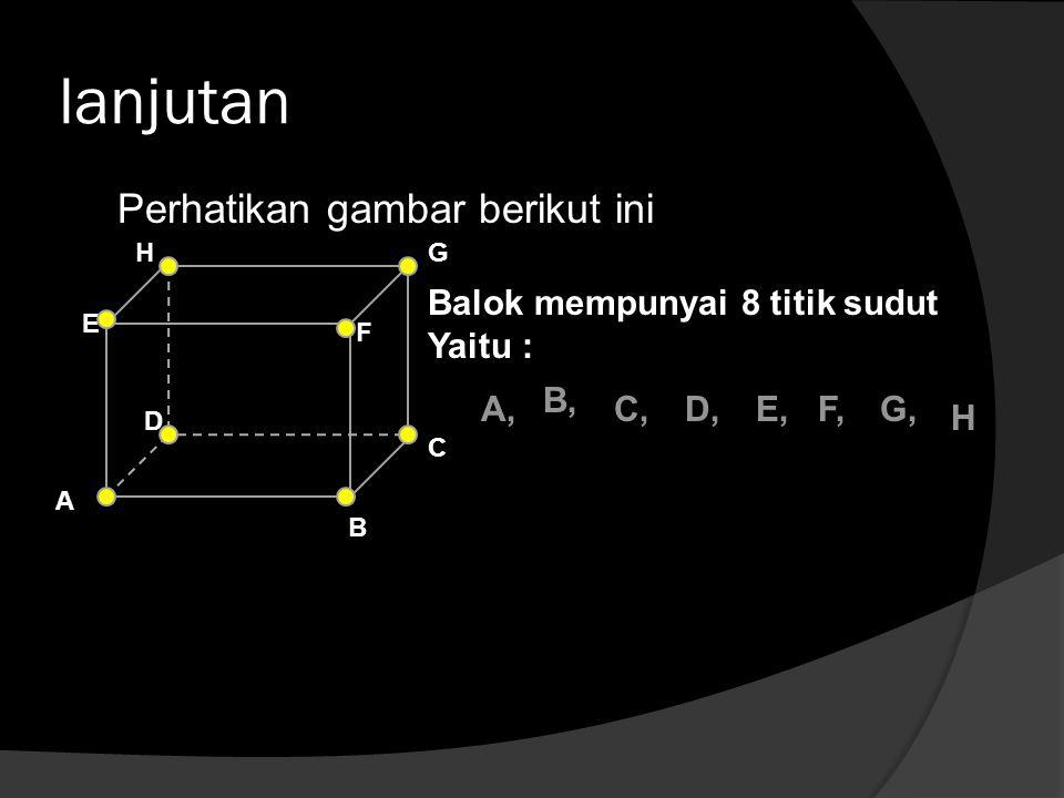 lanjutan Perhatikan gambar berikut ini Balok mempunyai 8 titik sudut Yaitu : B A C D E F GH A, B, C,D,E,F,G, H