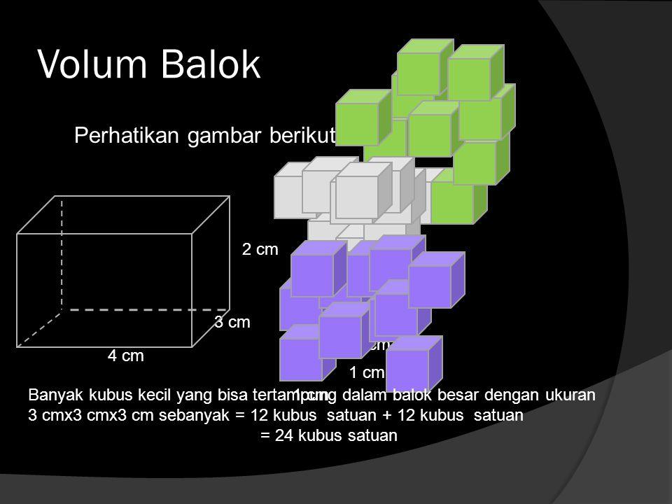 Volum Balok Perhatikan gambar berikut 4 cm 3 cm 2 cm 1 cm Banyak kubus kecil yang bisa tertampung dalam balok besar dengan ukuran 3 cmx3 cmx3 cm seban