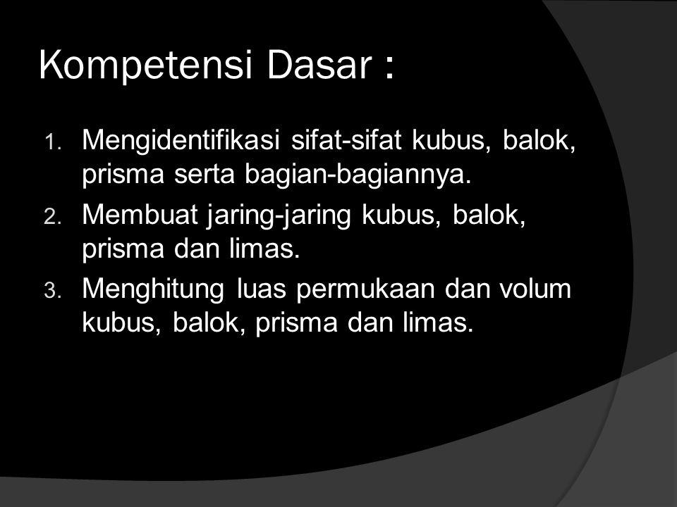 Kompetensi Dasar : 1. Mengidentifikasi sifat-sifat kubus, balok, prisma serta bagian-bagiannya. 2. Membuat jaring-jaring kubus, balok, prisma dan lima