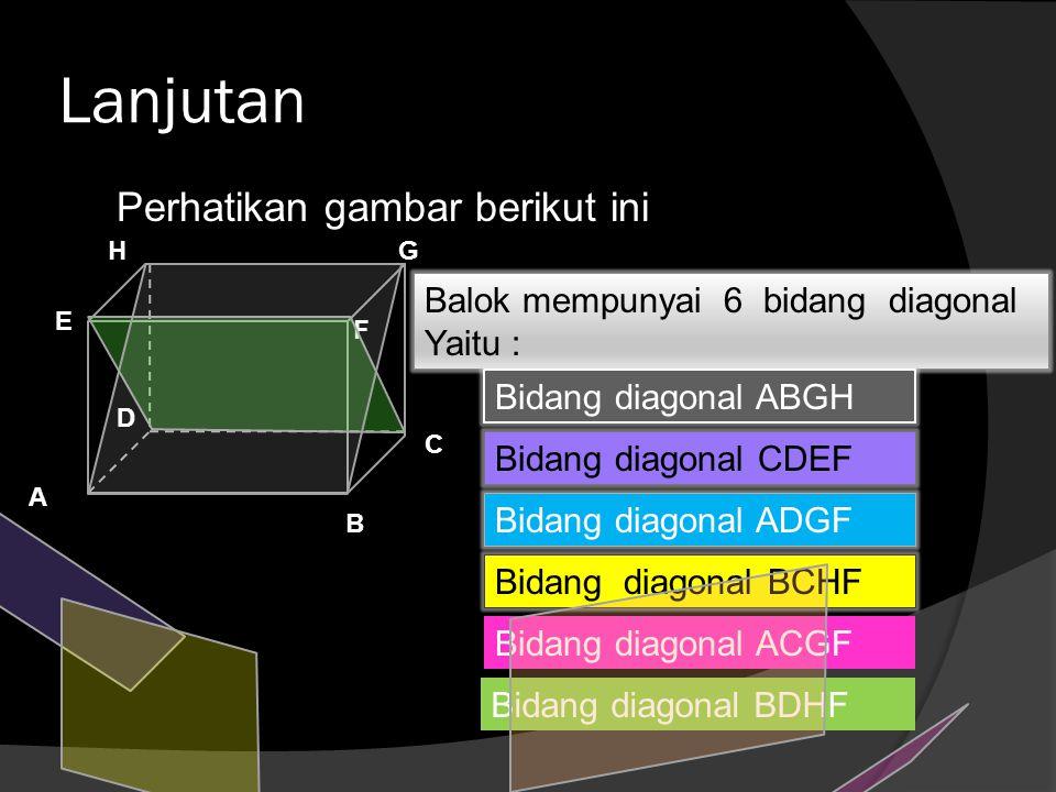 Lanjutan Perhatikan gambar berikut ini Balok mempunyai 6 bidang diagonal Yaitu : B A C D E F GH Bidang diagonal ABGH Bidang diagonal CDEF Bidang diago