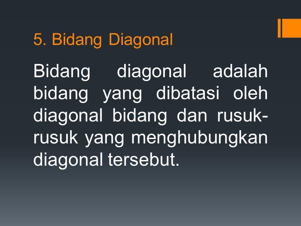5. Bidang Diagonal Bidang diagonal adalah bidang yang dibatasi oleh diagonal bidang dan rusuk- rusuk yang menghubungkan diagonal tersebut.