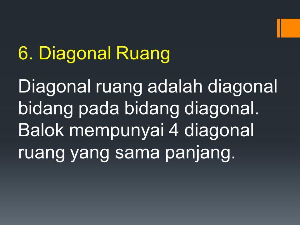 6. Diagonal Ruang Diagonal ruang adalah diagonal bidang pada bidang diagonal. Balok mempunyai 4 diagonal ruang yang sama panjang.