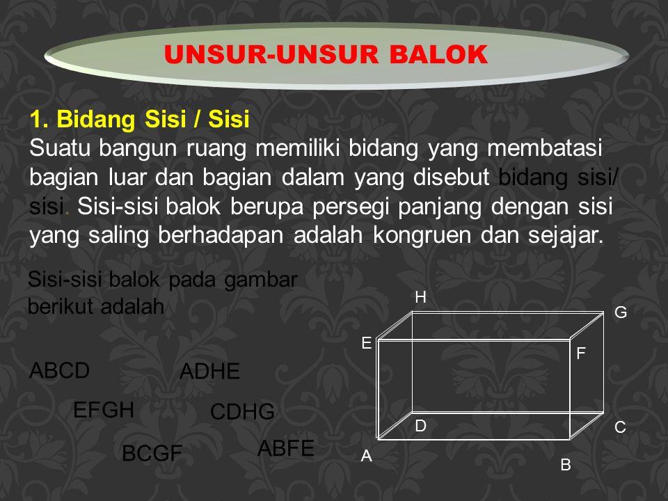 1. Bidang Sisi / Sisi Suatu bangun ruang memiliki bidang yang membatasi bagian luar dan bagian dalam yang disebut bidang sisi/ sisi. Sisi-sisi balok b