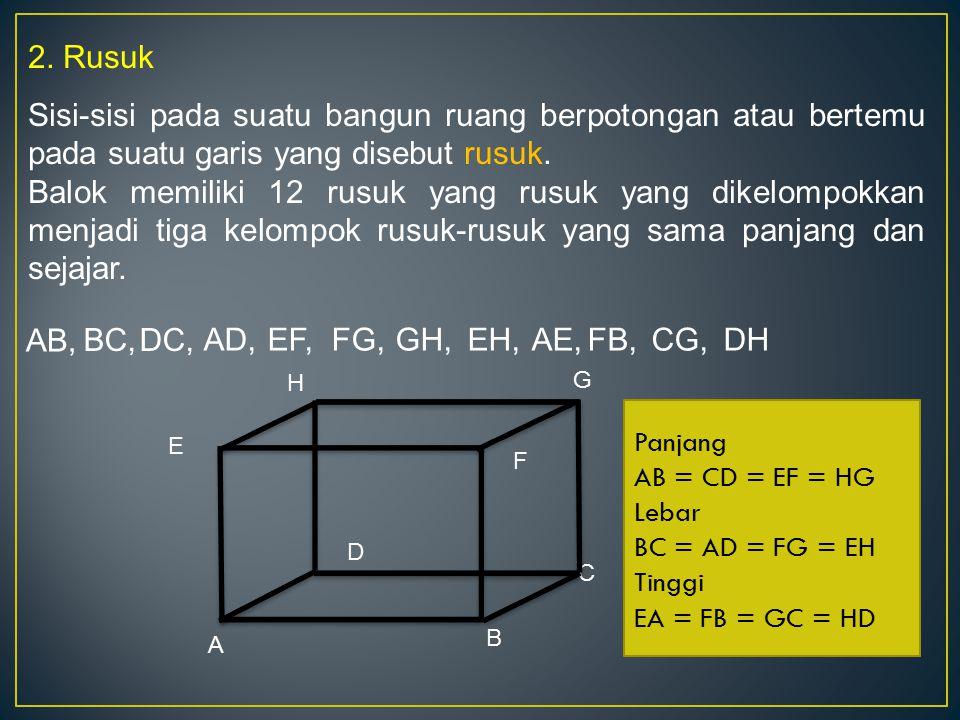 2. Rusuk Sisi-sisi pada suatu bangun ruang berpotongan atau bertemu pada suatu garis yang disebut rusuk. Balok memiliki 12 rusuk yang rusuk yang dikel