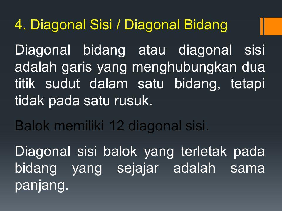 4. Diagonal Sisi / Diagonal Bidang Diagonal bidang atau diagonal sisi adalah garis yang menghubungkan dua titik sudut dalam satu bidang, tetapi tidak