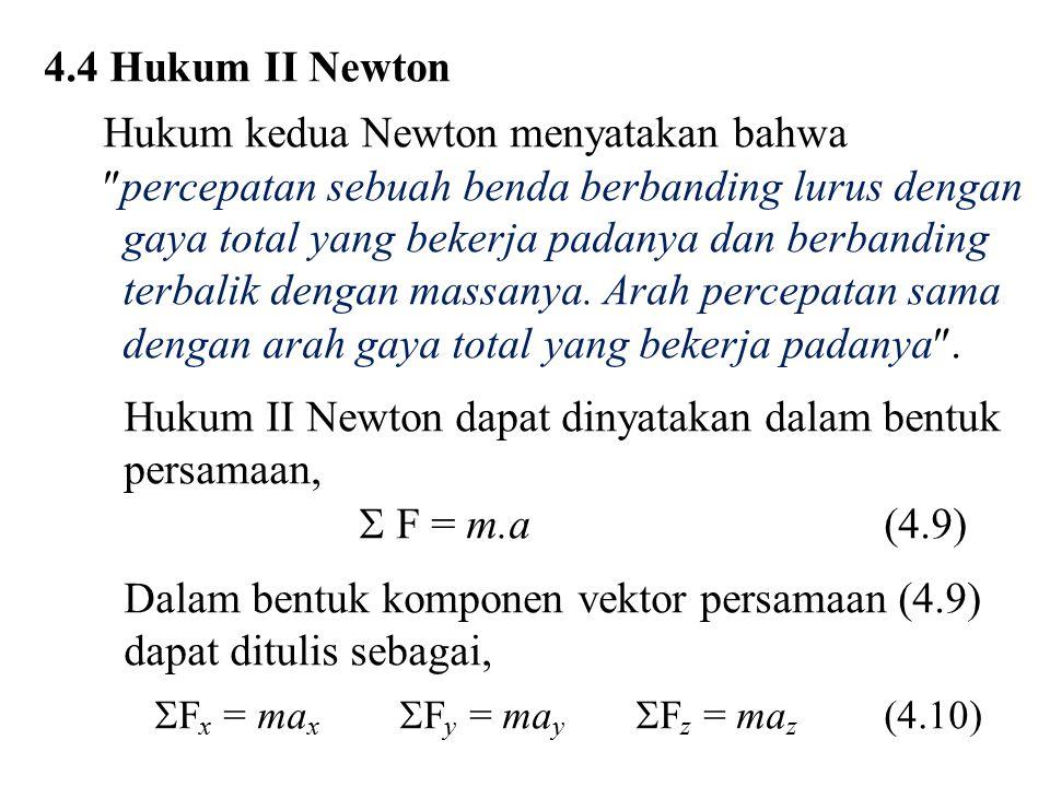 4.4 Hukum II Newton Hukum kedua Newton menyatakan bahwa  percepatan sebuah benda berbanding lurus dengan gaya total yang bekerja padanya dan berbandi