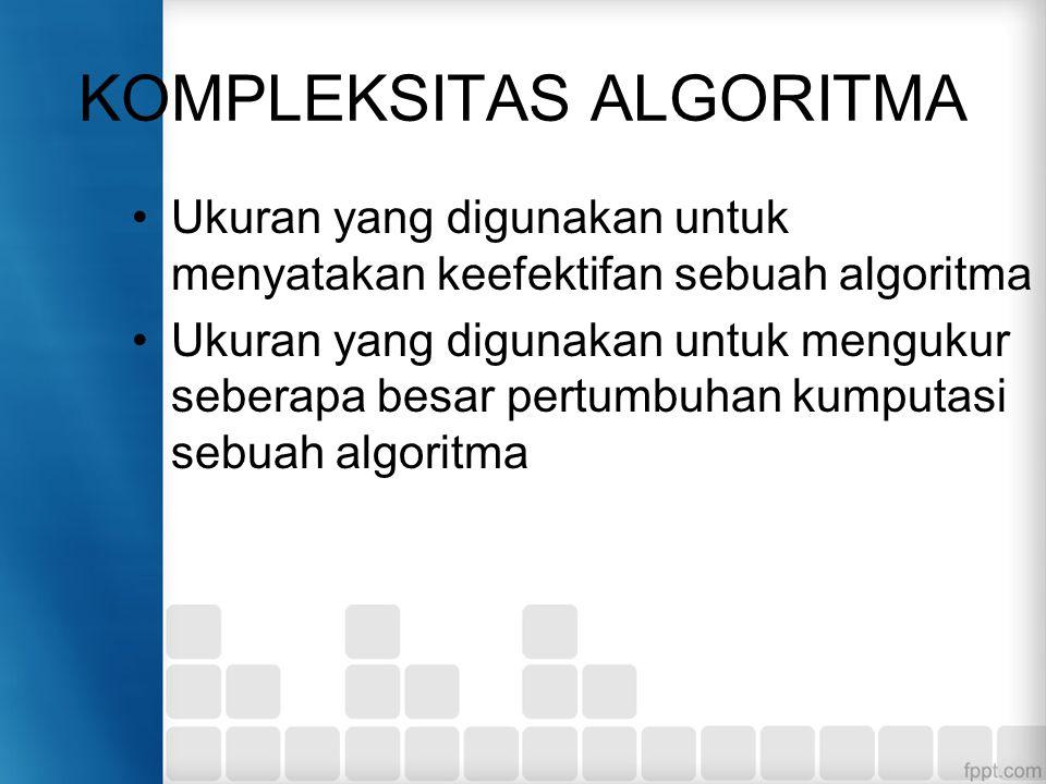 KOMPLEKSITAS ALGORITMA Ukuran yang digunakan untuk menyatakan keefektifan sebuah algoritma Ukuran yang digunakan untuk mengukur seberapa besar pertumbuhan kumputasi sebuah algoritma