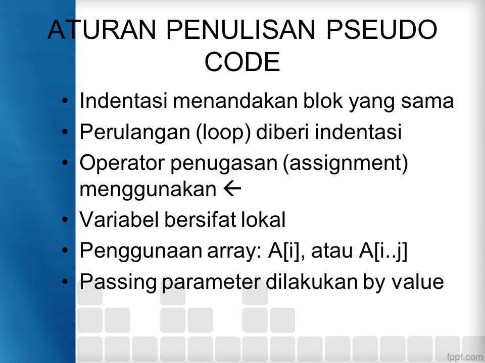 ATURAN PENULISAN PSEUDO CODE Indentasi menandakan blok yang sama Perulangan (loop) diberi indentasi Operator penugasan (assignment) menggunakan  Variabel bersifat lokal Penggunaan array: A[i], atau A[i..j] Passing parameter dilakukan by value