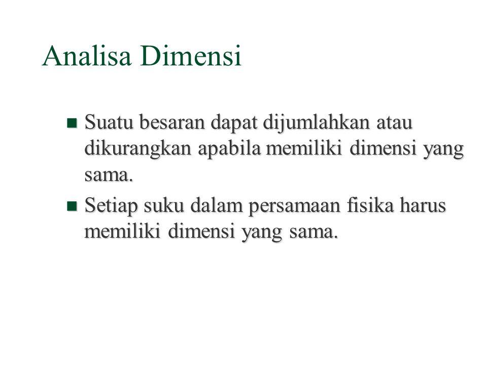Dimensi §Dimensi menyatakan esensi dari suatu besaran fisika yang tidak bergantung pada satuan yang digunakan. Jarak antara dua tempat dapat dinyataka