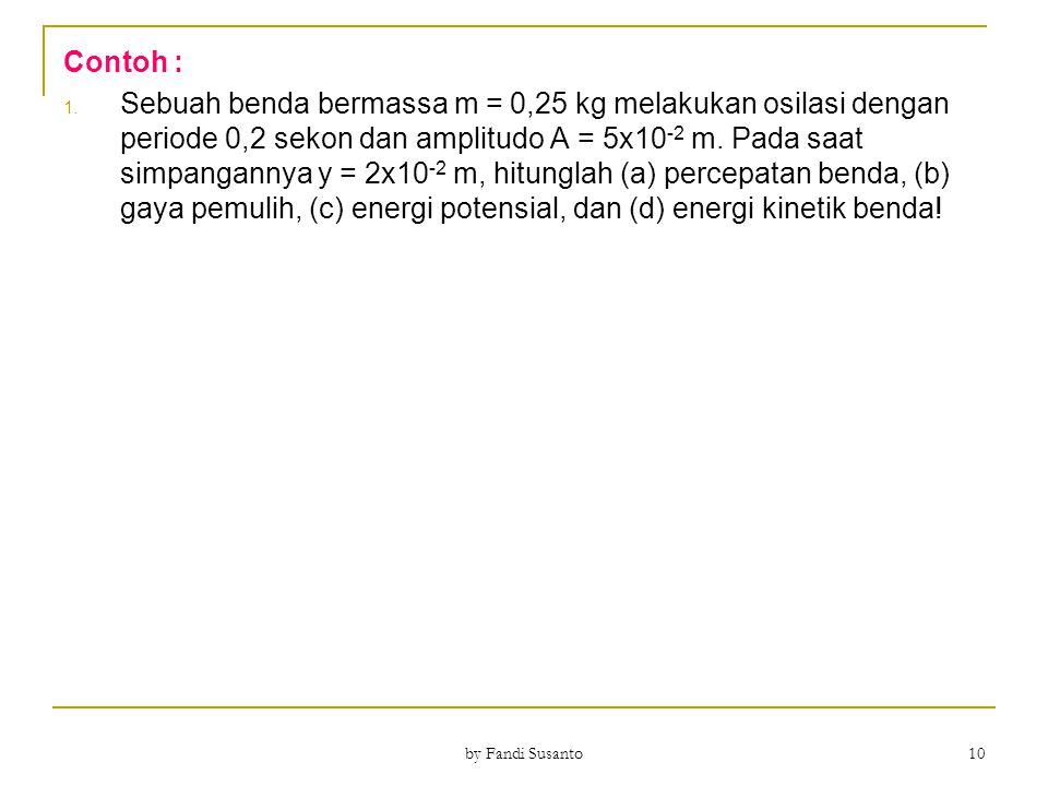 Contoh : 1. Sebuah benda bermassa m = 0,25 kg melakukan osilasi dengan periode 0,2 sekon dan amplitudo A = 5x10 -2 m. Pada saat simpangannya y = 2x10