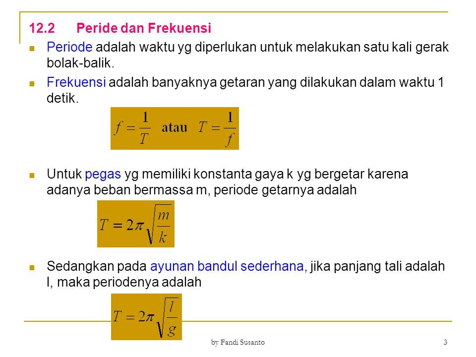 12.2Simpangan, Kecepatan, Percepatan Simpangan Gerak Harmonik Sederhana y = simpangan (m) A = amplitudo (m) ω = kecepatan sudut (rad/s) f = frekuensi (Hz) t = waktu tempuh (s) Jika pada saat awal benda pada posisi θ 0, maka Besar sudut (ωt+θ 0 ) disebut sudut fase (θ), sehingga φ disebut fase getaran dan Δφ disebut beda fase.