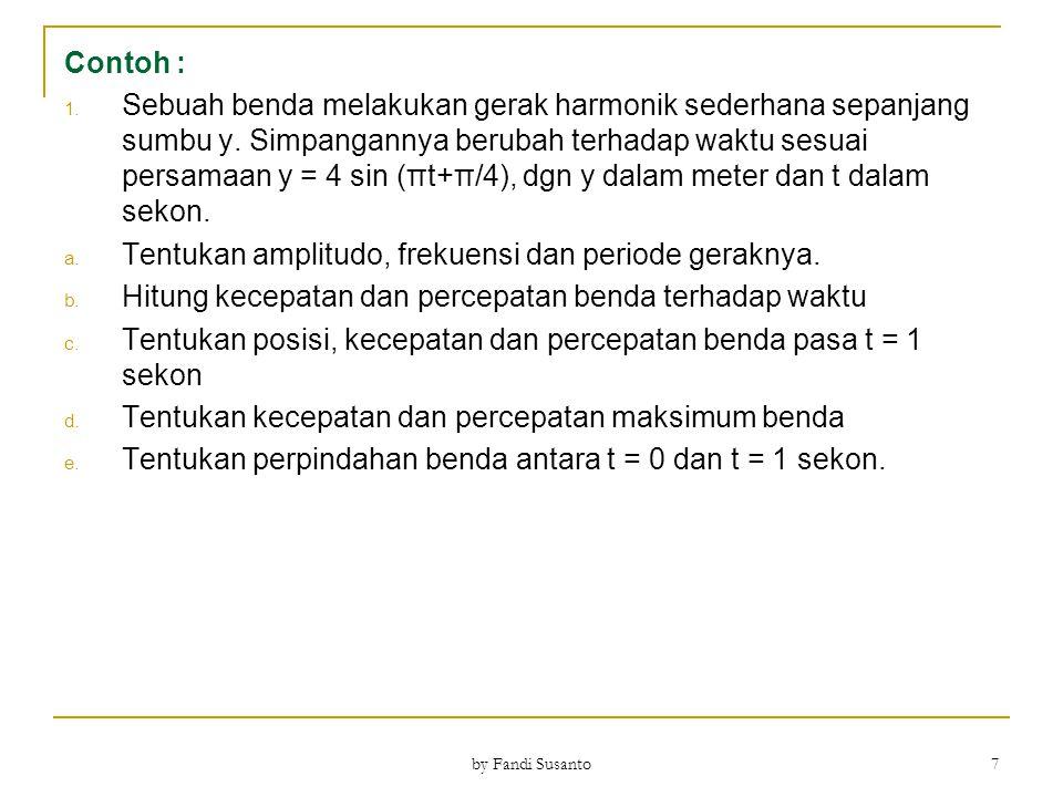 Contoh : 2.Sebuah gerak harmonik sederhana mempunyai amplitudo A = 6 cm.