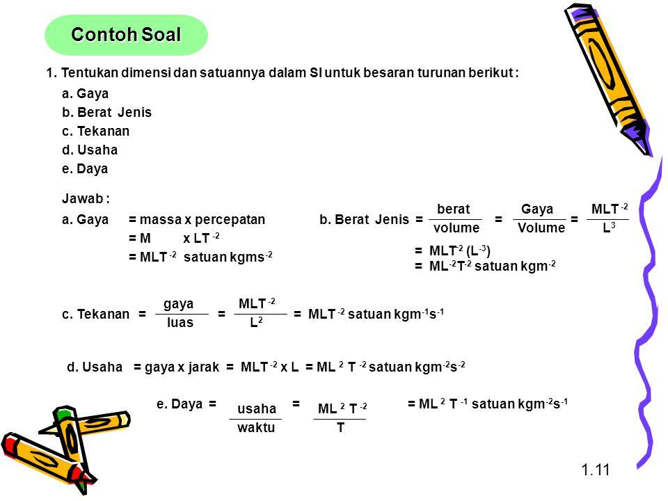 1. Tentukan dimensi dan satuannya dalam SI untuk besaran turunan berikut : a. Gaya b. Berat Jenis c. Tekanan d. Usaha e. Daya Jawab : b. Berat Jenis =