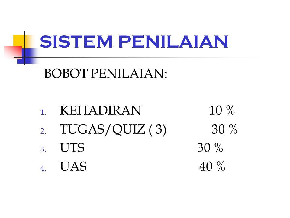 SISTEM PENILAIAN BOBOT PENILAIAN: 1. KEHADIRAN 10 % 2. TUGAS/QUIZ ( 3) 30 % 3. UTS 30 % 4. UAS 40 %