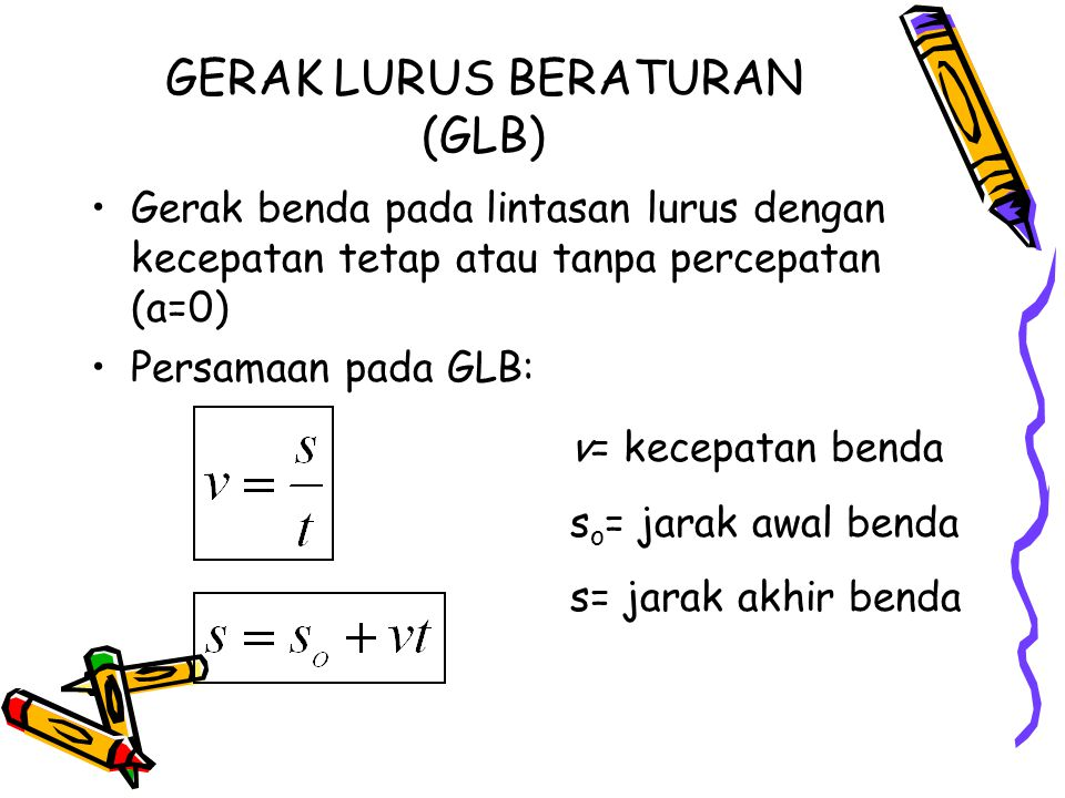 GERAK LURUS BERATURAN (GLB) Gerak benda pada lintasan lurus dengan kecepatan tetap atau tanpa percepatan (a=0) Persamaan pada GLB: v= kecepatan benda