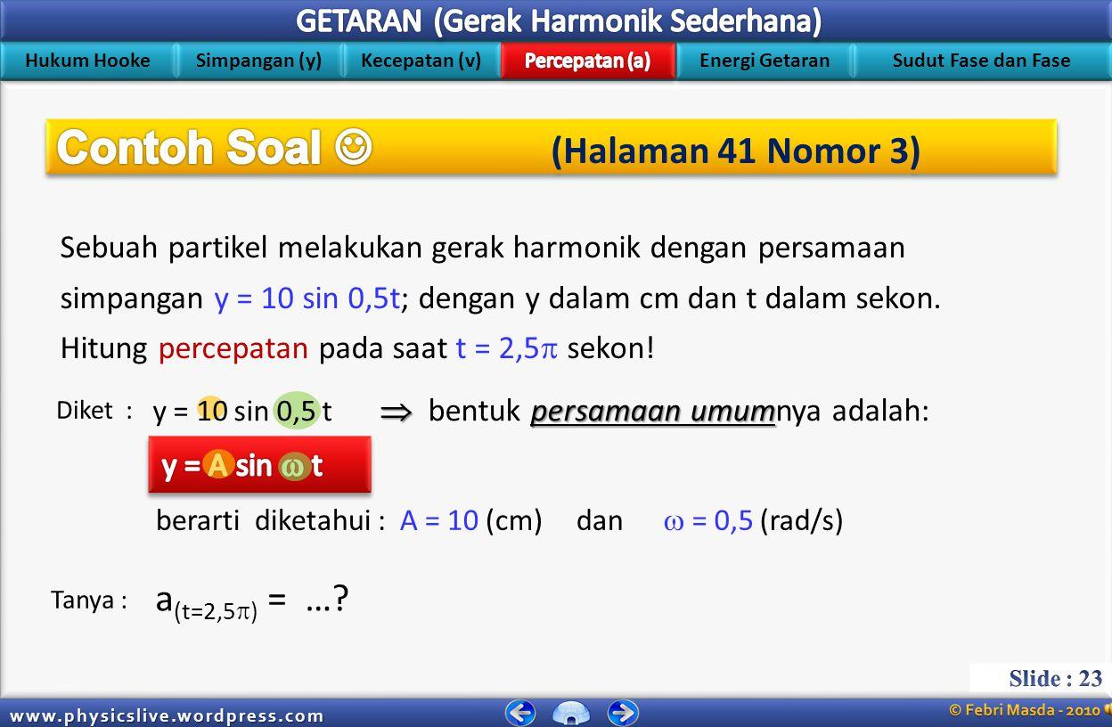 Hukum Hooke Simpangan (y) Kecepatan (v) Energi Getaran Sudut Fase dan Fase www.physicslive.wordpress.com Hubungan antara persamaan simpangan (y) denga