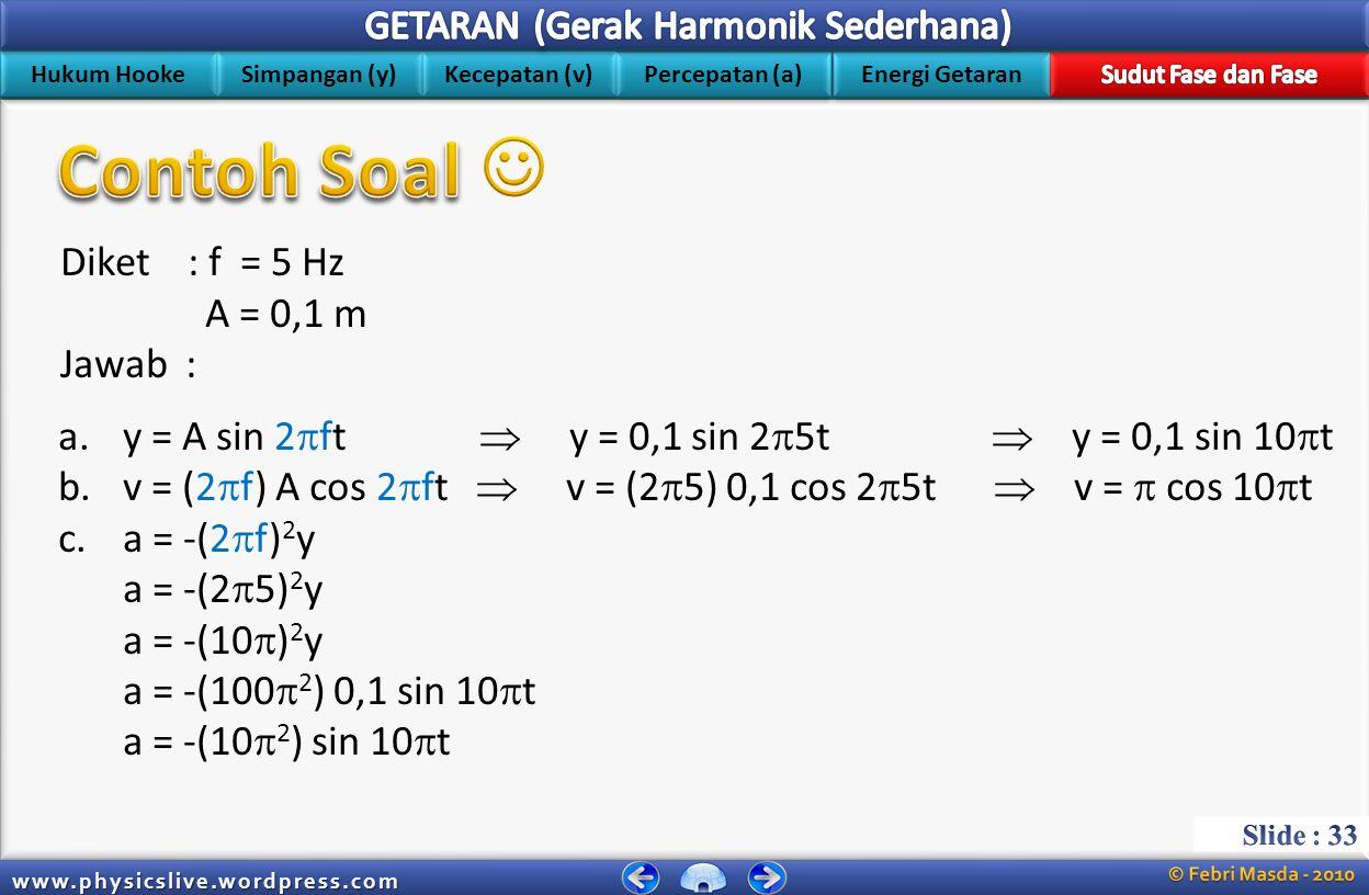 Hukum Hooke Simpangan (y) Kecepatan (v) Energi Getaran Percepatan (a) www.physicslive.wordpress.com Diket : f = 5 Hz A = 0,1 m Tanya : a.Persamaan sim