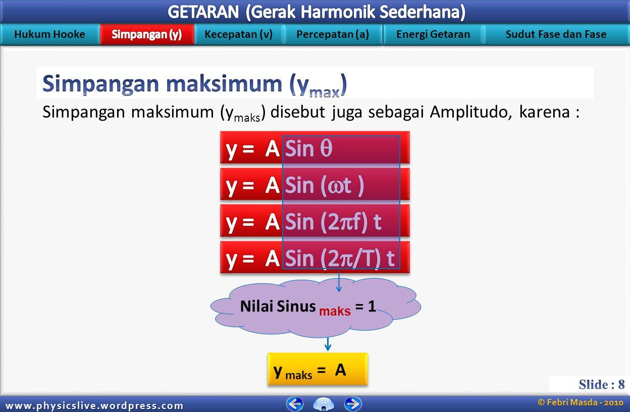 Hukum Hooke Kecepatan (v) Energi Getaran Percepatan (a) Sudut Fase dan Fase www.physicslive.wordpress.com Simpangan y = Simpangan (m) A = Amplitudo (m) t = waktu (s)  Amplitudo (A) Simpangan (y) Sin  = y A y = A Sin  Keterangan : Posisi seimbang Amplitudo Bagaimanakah bentuk Persamaan Simpangan sebuah getaran .