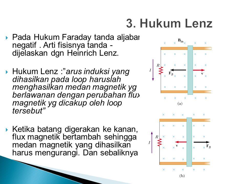  Pada Hukum Faraday tanda aljabar negatif.Arti fisisnya tanda - dijelaskan dgn Heinrich Lenz.