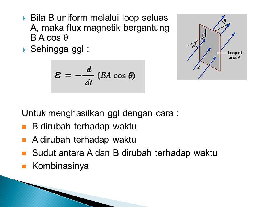  Bila B uniform melalui loop seluas A, maka flux magnetik bergantung B A cos   Sehingga ggl : Untuk menghasilkan ggl dengan cara : B dirubah terhadap waktu A dirubah terhadap waktu Sudut antara A dan B dirubah terhadap waktu Kombinasinya