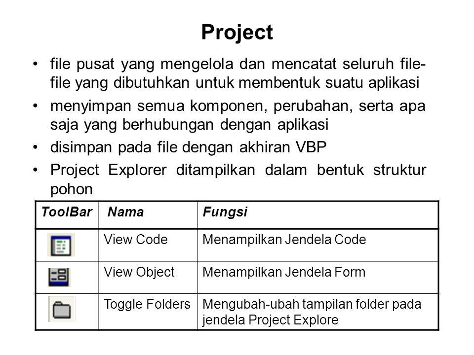 Project file pusat yang mengelola dan mencatat seluruh file- file yang dibutuhkan untuk membentuk suatu aplikasi menyimpan semua komponen, perubahan,