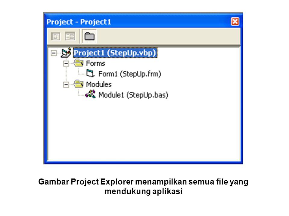 WINDOW CODE (JENDELA CODE) Berisi kode-kode program yang merupakan instruksi- instruksi untuk aplikasi visual Basic.