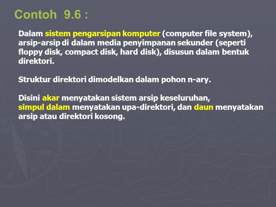 Contoh 9.6 : Dalam sistem pengarsipan komputer (computer file system), arsip-arsip di dalam media penyimpanan sekunder (seperti floppy disk, compact d
