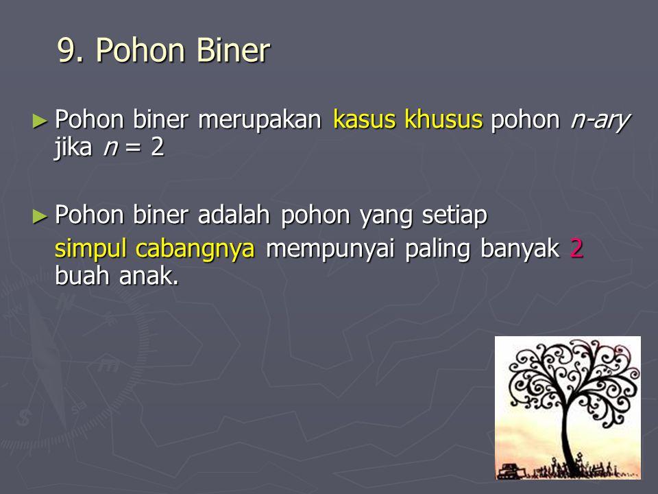 9. Pohon Biner ► Pohon biner merupakan kasus khusus pohon n-ary jika n = 2 ► Pohon biner adalah pohon yang setiap simpul cabangnya mempunyai paling ba