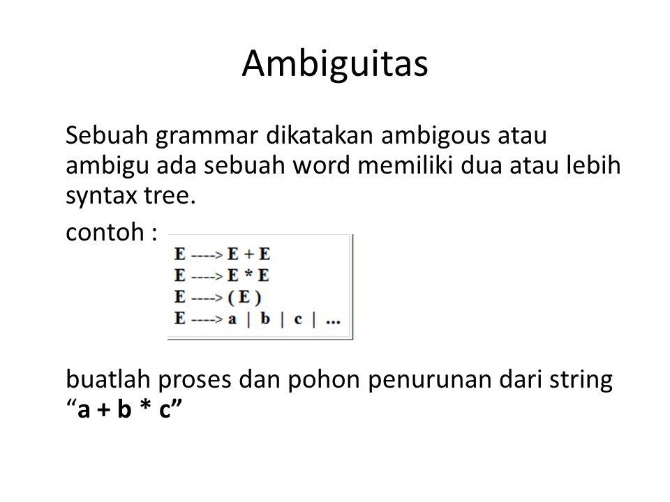 Ambiguitas Sebuah grammar dikatakan ambigous atau ambigu ada sebuah word memiliki dua atau lebih syntax tree. contoh : buatlah proses dan pohon penuru