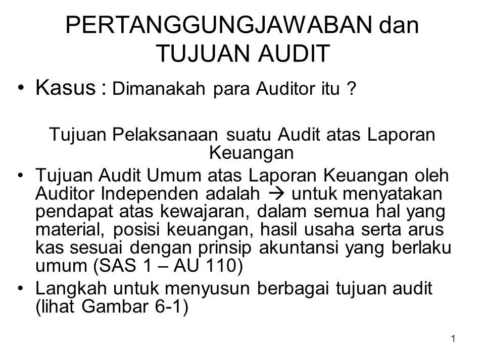 1 PERTANGGUNGJAWABAN dan TUJUAN AUDIT Kasus : Dimanakah para Auditor itu ? Tujuan Pelaksanaan suatu Audit atas Laporan Keuangan Tujuan Audit Umum atas