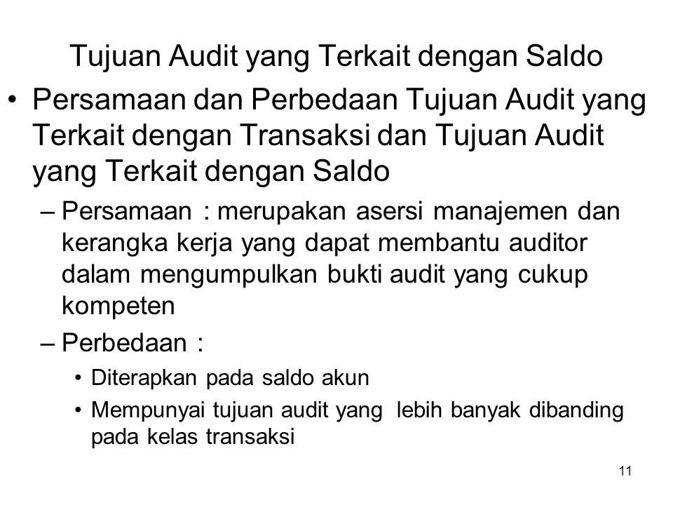 11 Tujuan Audit yang Terkait dengan Saldo Persamaan dan Perbedaan Tujuan Audit yang Terkait dengan Transaksi dan Tujuan Audit yang Terkait dengan Sald