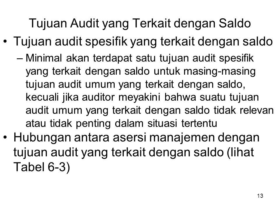13 Tujuan Audit yang Terkait dengan Saldo Tujuan audit spesifik yang terkait dengan saldo –Minimal akan terdapat satu tujuan audit spesifik yang terka