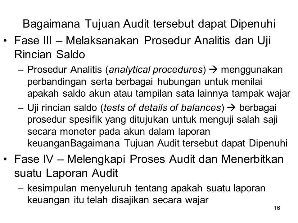 16 Bagaimana Tujuan Audit tersebut dapat Dipenuhi Fase III – Melaksanakan Prosedur Analitis dan Uji Rincian Saldo –Prosedur Analitis (analytical proce